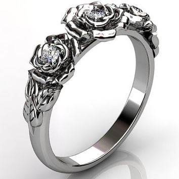 14k white gold diamond unusual unique flower engagement ring, bridal ring, wedding ring ER-1091-1.