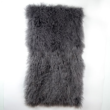 Tibetan / Mongolian Lamb Fur Throw  - Dark Gray