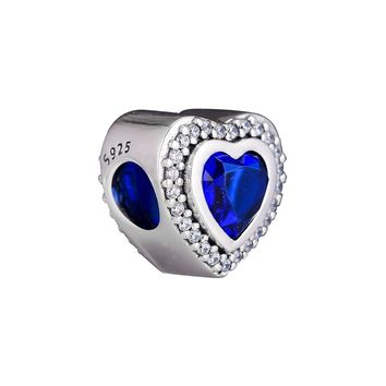 CKK 925 Sterling Silver Sparkling Night Blue Love Heart Charm Beads Original Jewelry Making Fits For Bracelets & Bangle