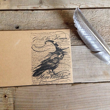 Quoth the raven nevermore hand stamped stationary set