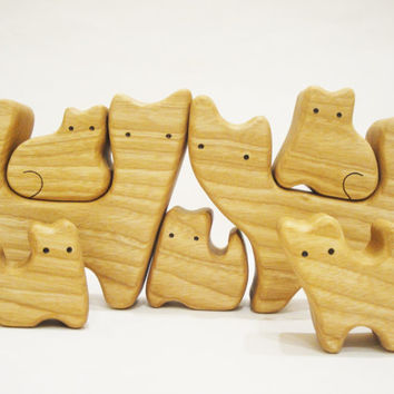 Wooden Cats Puzzle Big Family (7 members) Cat figurine Woodland set Handmade Eco Friendly Toys for boys and girls Learning Toys Montessori