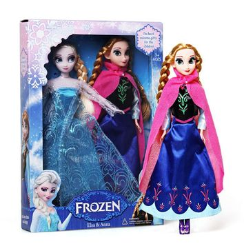 Disney Toys For Kids Fashion Anime Dolls Frozen Cartoon Princess Anna And Elsa Dolls Toys Models Juguetes Tq0120