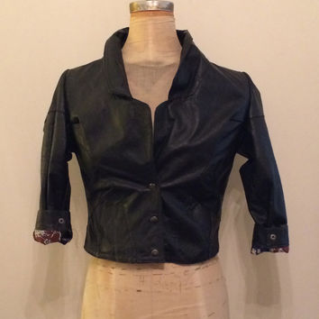 vintage black leather snap bomber jacket by wolf and lamb