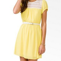 Lace Panel Dress w/ Belt