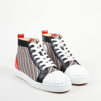 DCCK Mens Christian Louboutin Black, White, and Red  Lou Spike  Hi Top Sneakers
