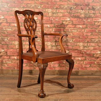 Victorian Chippendale Revival Elbow Chair, c.1890