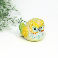 Owl Figurine Multi-Colored Yellow Green Beaded Owl Totem Spring Decoration Mother's Day Gift *MADE TO ORDER
