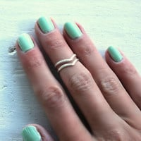 Sterling silver knuckle ring, chevron stacking rings - midi rings, hammered, textured knuckle rings, silver rings