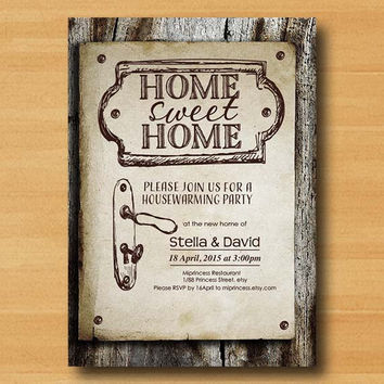 Housewarming Invitation New house home sweet home Invitation Card WOOD design We have moved Invitation Card Design - card 329