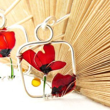 Red Poppies Silver Earrings. Red Earrings. Dangle Earrings. Flower Jewelry. Wire Jewelry. Red Jewelry.