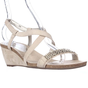 7317e0b4199a Anne Klein Jasia Strappy Wedge Sandals - Light Natural