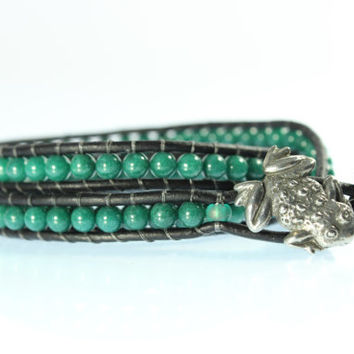 Leather Frog Bracelet, Green Jade, Green Mountain, Black 3 Wrap, Pewter Frog, Women''s, Men's, Unisex, Three Stack