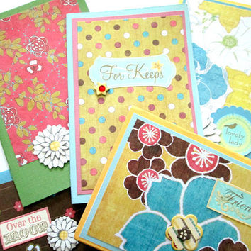 Assorted Cards Yellow, Blue & Pink Floral, set of 5