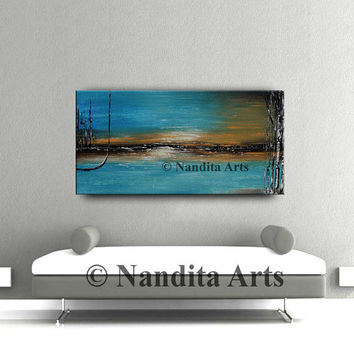 """LANDSCAPE PAINTING 48"""" Landscape Wall Art, Abstract painting blue Warm and Cold Colors Hand Made original artwork Home Decor- Nandita"""