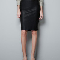 LEATHER PENCIL SKIRT - Skirts - Woman - ZARA Israel