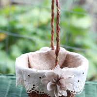 Rustic Flower Girl Basket with vintage ivory lace