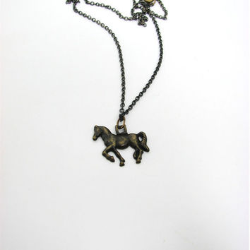 tiny horse necklace - equestrian jewelry