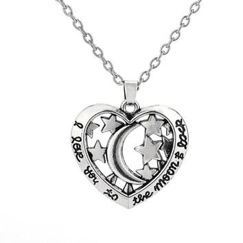 my shape  Vintage Style I Love You To The Moon And Stars Pendant Necklace Kingdom Hearts Necklace Boho Jewelry