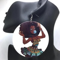 Bubble Gum & Afro Earrings