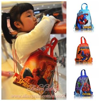 1PCS Spider Man Children Drawstring Backpacks School Shopping Bags 34*27CM Non Woven Fabrics Kids Birthday Party Best Gift