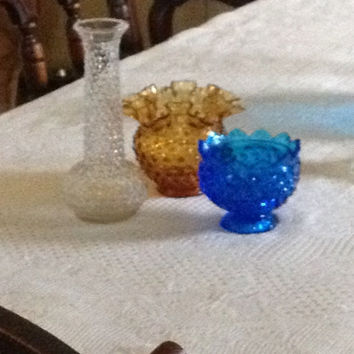 Fenton Brody Vases Candle Holder Hobnail Glass Collection Amber Sapphire Clear Vintage
