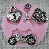 Motorcycle Shape Soap Forms Key Molds Lock Chocolate Cup Imperial crown Silicone Cake Stencil Tools