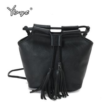YBYT brand 2018 new fashion vintage tassel bucket bag hotsale ladies cell phone coin purses shoulder messenger crossbody bags