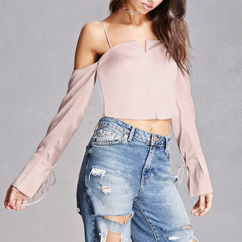 Satin Open-Shoulder Crop Top
