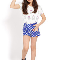 FOREVER 21 GIRLS Polka Dot Denim Shorts (Kids)