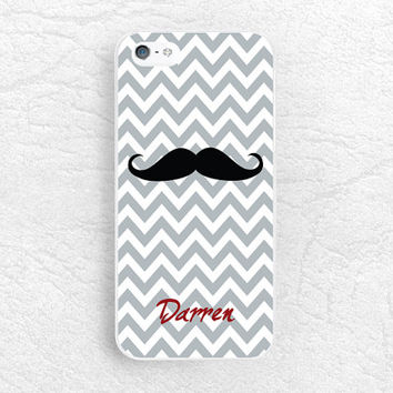 Mustache Chevron Personalized monogram custom name Phone Case for iPhone 6 5s, Sony z1 z2 z3 compact, LG g2 g3, HTC one m7 m8, Moto g Moto x