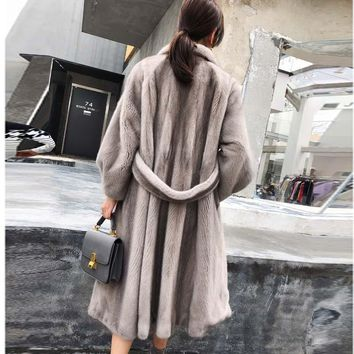 2018 New Luxury Mink Fur natural fur real mink fur coat Winter Long mink coats Warm Coat
