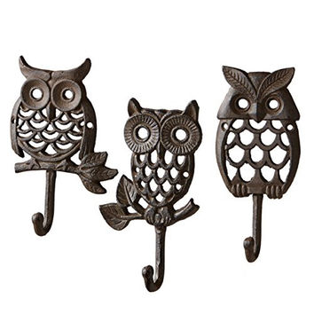 Wise Night Owls Heavy Duty Wall Hook Set of 3 - Brown