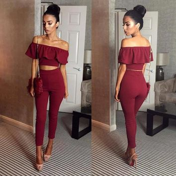 Sexy Off Shoulder Ruffles Women Two-piece Set 2019 New Casual Solid Backless Short Tops Sets Emprie Slim Long Pants 2-piece Set