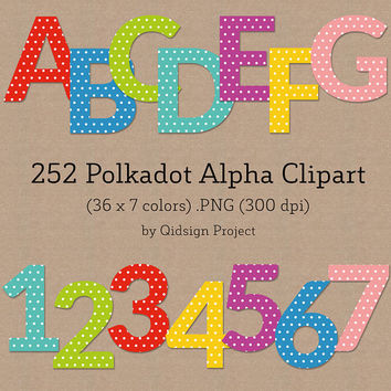 BUY2GET1FREE - 252 Polkadots Alphabet Clipart, Scrapbook Alphabet, Digital Alphabet, ABC Clipart, Baby Alpha Graphic, Number, Letter clipart