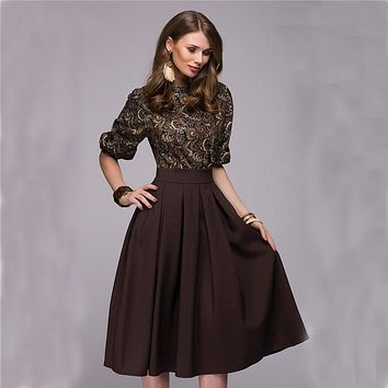 Floral Printed Dress 2018 New Fashion Women Autumn Spring Christmas Casual Elegant Prom Long dresses Fall Party Elegant Vestidos