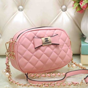 Chanel Women Cute Bow Mark PU&Metal Shoulder Bag Small Round Bag B-OM-NBPF Pink