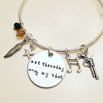 Not Throwing Away My Shot Alexander Hamilton the Musical Inspired Lyrics Hand Stamped Adjustable Bangle Charm Bracelet
