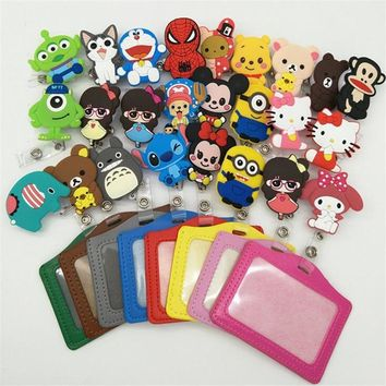 1pcs New Silicone card case holder Bank Credit Card Holders Card Bus ID Holders Identity Badge with Cartoon Retractable Reel