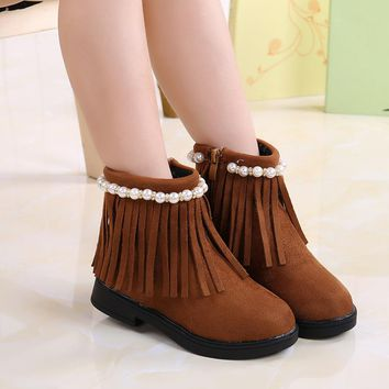 Autumn Winter Baby Girl Boots Children Kids Shoes Leather Fringe Mid-Calf Fashion Boots For Girl Black Brown Red Girls Boots