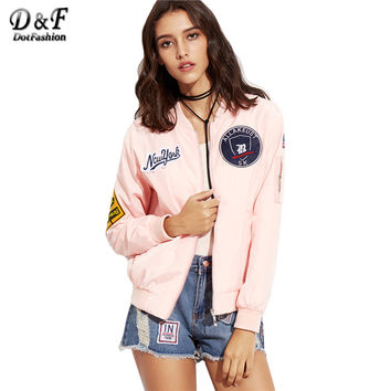 Dotfashion Pink Embroidered Patch Zipper Bomber Jacket Women's Stand Collar Long Sleeve Twin Pockets Coat