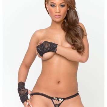 Micro Triangle Front Crotchless Thong With Beads