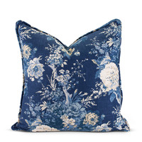 Navy Floral Pillow