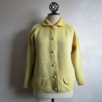 Vintage 60s Wool Cardigan Butter-Cream Wool Long Sleeve Button Down Knit 1960s Sweater 38