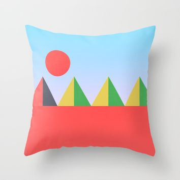 Pyramids in the Sun Throw Pillow by Trevor May