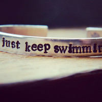 just keep swimming  bracelet 1/4 inch wide