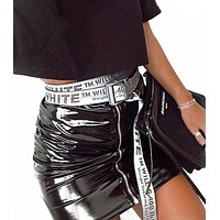 OFF WHITE Fashion New More Letter Women Men Word Personality Belt White