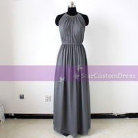 Grey Long Bridesmaid Dress Long Convertible Chiffon Dress