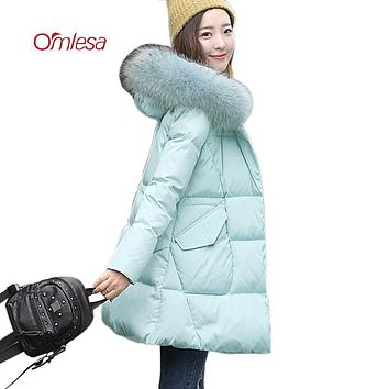 OMLESA 2017 New A-Line Down Coat Women Fashionable Winter Duck Down Jackets Mid-length Hooded Fur Thicken Parka Female YQ325