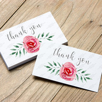 100 Watercolor Floral Spray Thank You Cards