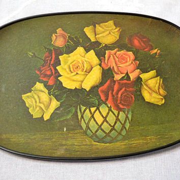 Vintage Tray Rattan Handles Green Rose Flower Design PanchosPorch Panchos